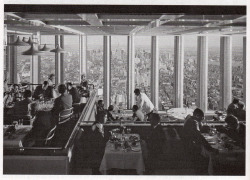 Inside the Windows of the World restaurant on the 107th floor of the World Trade Center in 1976, New York