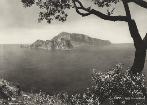 Bygone Capri…  This photo of Capri, taken from the Sorrentine Peninsula, dates back to a time when the only signs of life on the island were the tiny little cottages inhabited by the islanders and the only boats to drop anchor in the small bay of Marina Grande were those of the local fishermen. If you climb up into the hills of Massa Lubrense, just above the beaches and hotels on the Amalfi Coast, today, you'll discover that much, but not everything, has changed. The sea is still the same sparkling blue (each year the town of Massa Lubrense is awarded the Blue Flag for its wonderfully clean beaches), the Faraglioni continue to guard over the southern shores of Capri, and the island maintains all of its magical allure. According to Homer, it was in this stretch of water, between Capri and the mainland, that Ulysses met the Sirens. And it was on this part of the Amalfi Coast that the Ancient Romans erected a temple to Minerva. Massa Lubrense, together with the districts of Nerano and Sant'Agata sui Due Golfi, is one of the best places for a fabulous Italian walking holiday and it is from here that the spectacular Punta Campanella and Baia di Ieranto coastal paths start. For more information about these itineraries click here: Walking on the Amalfi Coast. Do you like this photo? You'll find lots more images of old Capri on our Facebook Fan Page!