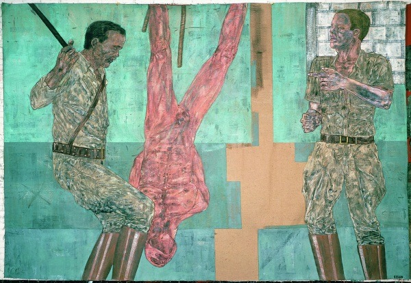 "The art: Leon Golub, Interrogation I, 1981. The news: ""Crazy Talk on Torture? Blame Obama,"" by Andrew Cohen for TheAtlantic.com. The source: Collection of The Broad Art Foundation, Santa Monica, Calif. Michael Glover breaks down the painting for The Independent (UK)."