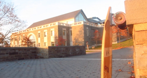 Classic Picture of Colgate's Library and Mike Girard's Eden Sparrow Longboard.  Photo Cred: Mike Girard  Setup: Eden Racing Sparrow, 50* Caliber trucks, 83a Orangatang Stimulus wheels, Nipple bushings. #TBDlife