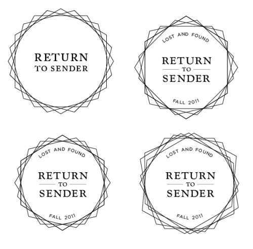 Different abstractions of the postmark circle with new logotype.