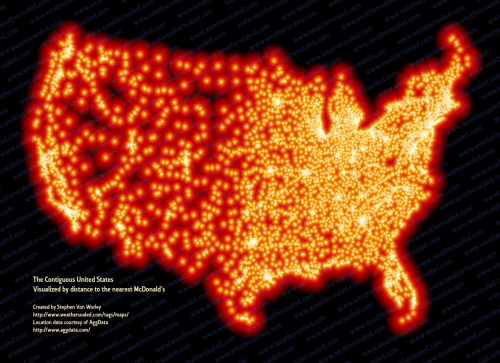 universalgrandma:  myspacejunkie:  sunshel:  Every McDonald's in the US  Look how they shine for you  shine bright like a mcdonald's