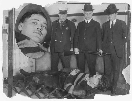 Clarence Sponagel laying on a stretcher with broken legs after he jumped the wall in the jail yard. Want a copy of this photo?  > Visit our Rights and Reproductions Department and give them this number: iChi-64978. Connect with the Museum