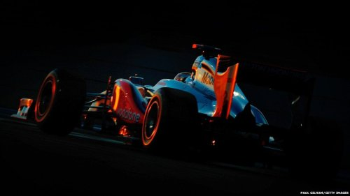 Lewis Hamilton (McLaren-Mercedes) in the twilight winning the Abu Dhabi Grand Prix (source: BBC)