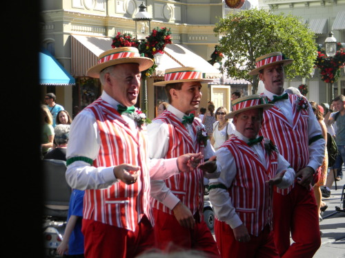 The Dapper Dans in their candy cane Christmas outfits. They're a lot of fun to listen to :]
