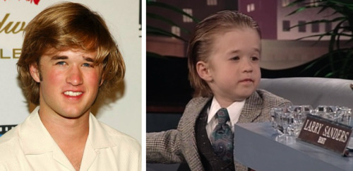 "Before he saw dead people in The Sixth Sense, Haley Joel Osment played a very adorable ""network exec"" on the Larry Sanders Show. Eesh, what went wrong?  Great find, youdrivemeboonanas!  Follow Us On Twitter at @ISpyAFamousFace!"