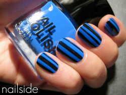 nailside:  Black & blue stripes (H&M Blue My Mind & China Glaze Ink)