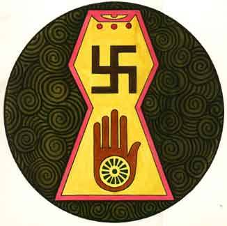 This is a combination of a few Jain symbols. Jainism is an eastern religion that adheres to strict non-violence and will do whatever possible to cause as little possible harm to any sentient being going out of their way to achieve as close to total peace as possible.