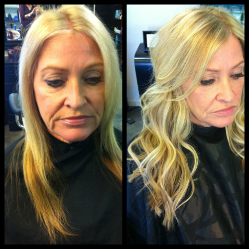 SoCap Extensions before/after: 90 strands on Leigh for fullness and length.