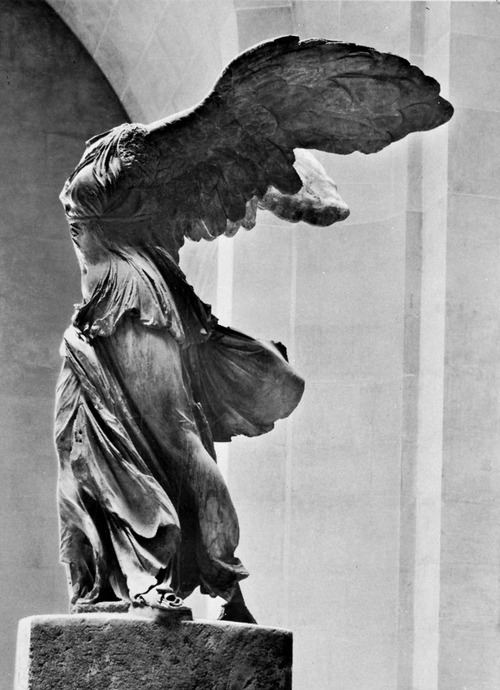 Winged Victory of Samothrace, also called the Nike of Samothrace. 2nd century BC marble sculpture of the Greek goddess Nike (Victory).   wings, but no head. there should be something more to say about victory, but i can't seem to focus.