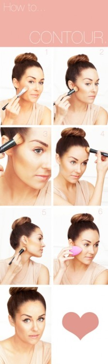 How To Contour from makeup artist Amy Nadine.  TOOLS: Foundation Sponge or Foundation Brush Bronzing Powder or Cream Bronzer Flat-headed Bronzing Brush  1.     Apply foundation all over face and neck with a sponge, foundation brush or fingers. 2.     Look in the mirror and suck in your cheeks.  This will instantly show you exactly where your cheekbones are.  Sweep bronzing powder/cream bronzer with a flat-headed bronzer brush just slightly under cheekbones from the hollows to your ear. 3.     Sweep bronzer in circular motions directly on temples. 4.     Contour along the hairline. 5.     Contour directly underneath your jawline. 6.     Blend edges with a sponge. Source: www.thebeautydepartment.com
