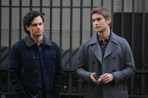 Chace and Penn Badgley filming Gossip Girl on November 14, 2011.