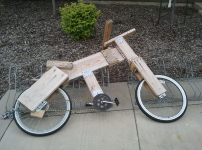 collegehumor:  Makeshift Wooden Bicycle Sure it weighs a ton, but the splinters on your palms are totally worth it.