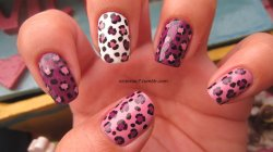 victoriac7:  Leopard print Colors used:  OPI - Pamplona Purple, Sparrow Me The Drama Sally Hansen X-treme Wear - White On, Black Out