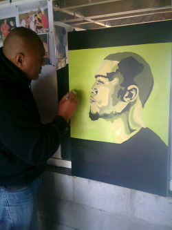 Studio J.Cole painting my dad adding final touches :)