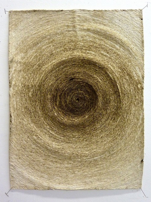 "ymutate: Hein Koh: Scorched, burnt string on canvas, 20"" x 15"", 2011  source: Hein Koh"