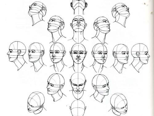 sekoshi:  mateshit:  amazinglyartisticadvice:  The head, at various angles, in perspective.  BEAUTIFUL REFERENCE  Omg we use this in my figure class WHAAAAT