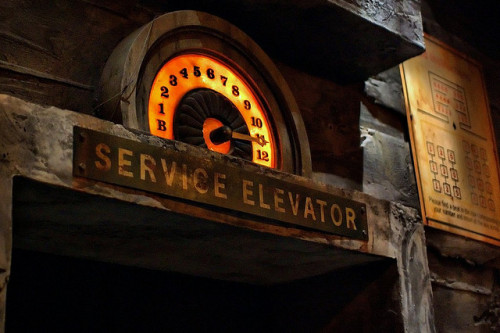 tower-of-terror:  Disney - Service Elevator by Express Monorail on Flickr.