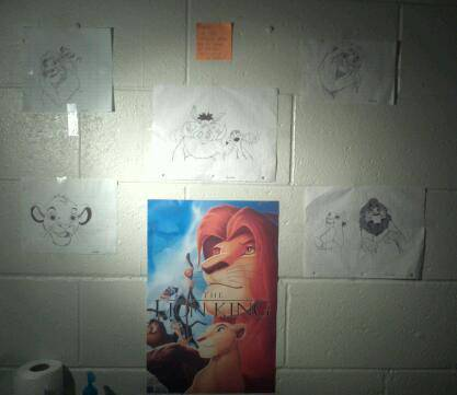 Here's the same poster up in my dorm room, next to all of my drawings of The Lion King :D