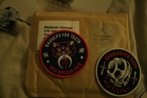 These came in the post today!Going to stitch them on my jacket tomorrow Also visible: my keys and the latest issue of vice