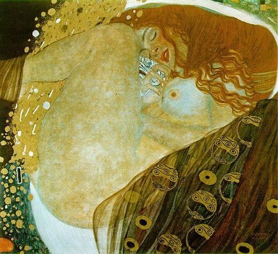 Gustav Klimt, Danae, 1907 Keeping in theme with the other Danae I blogged about by Titian, this Danae portrays a woman as very sexualized, having intercourse with Zeus in the form of a golden shower (here flowing from between her legs). Klimt's talent lay in depicting women. Sexiest Danae ever.