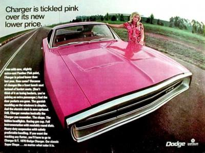 musclecardreaming:  Charger is tickled pink over its new lower price.  She's hot. Just sexy all over. Then there's the lady ruining the damn picture …