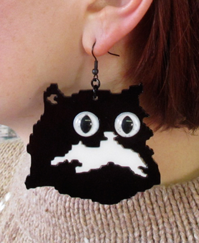 they're here !!!!!!! laser cut acrylic Pretty Snake kitty earrings @ http://www.etsy.com/shop/PrettySnake