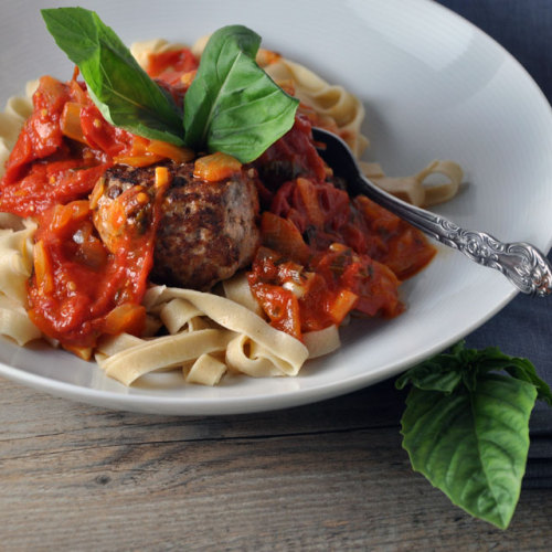 Fettuccine with Turkey Meatballs