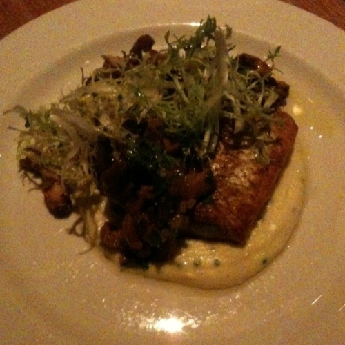 Crispy white fish on top of potato chive puree, with chantrelle mushrooms and truffle oil.  Insane.  Westside Tavern