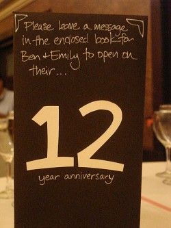vowsandcake:  Assign each table a different anniversary year, and let the guests at that table write notes to be opened on the first anniversary, second, third, and so on