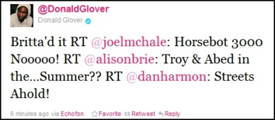 thedailywhat:  Communal Reaction of the Day: Community stars Joel McHale, Alison Brie, Donald Glover, and series creator Dan Harmon took to Twitter to react to the news that their show has been shelved by NBC until an as-yet-undetermined time. [@donaldglover.]  Shit, glad they've got a sense of humor. I hope to see this show back on the air… just glad to get what's left for this year!