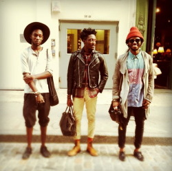 streetetiquette:  Thanks Nicole! Me and my Bronx brothers.  nicolealyse:    Shooting with the boys in Soho this afternoon. Olu Alege, Joshua Kissi, and kJohn. 11.14.2011