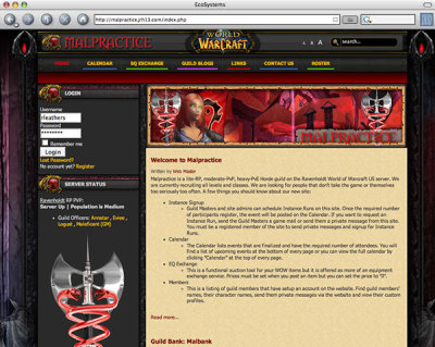 This one was just for fun. A member site for a World of Warcraft guild.