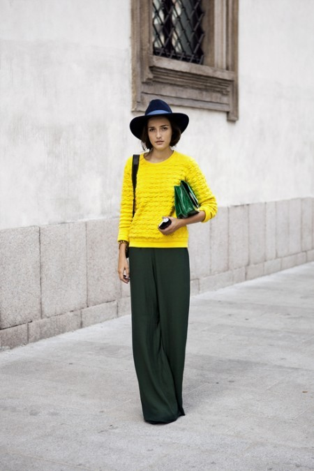 Color Blocking in Winter! Don't be afraid to use some bright colors. This girl obviously knows what she is doing.