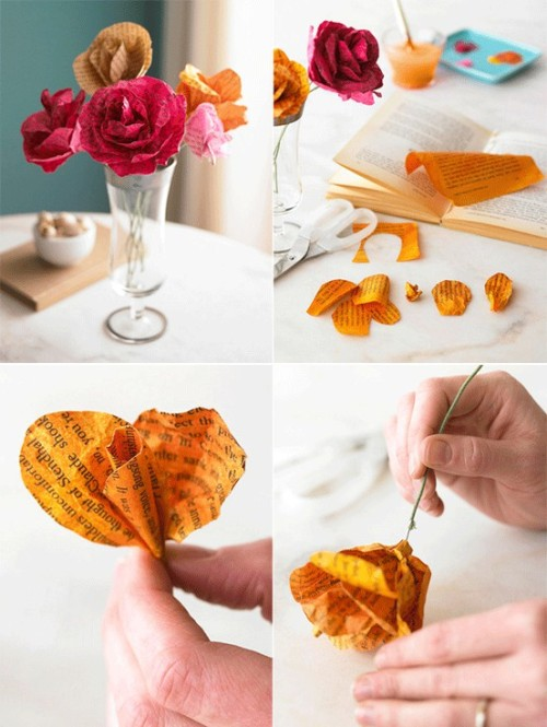 Wow, these paper flowers (made from the pages of books and hand-painted with a wash) are simply gorgeous! They would make a beautiful birthday present for someone or just be a lovely way to dress up your desk or shelf. I want to try these!