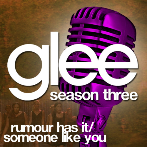 "A Glee album cover (with Season 3 microphone) for ""Rumour Has It/Someone Like You"", as sung by Amber Riley and Naya Rivera, from Episode 3x06 ""Mash-Off"" in my Velvet Backdrop style, inspired by the Season 3 promotional shoot."