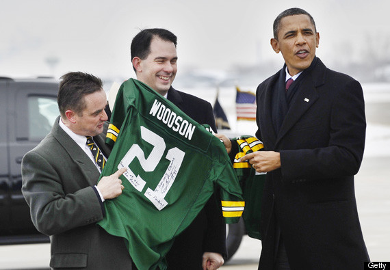 "After the Packers won the Super Bowl last year, President Barack Obama flew to Green Bay, only to be immediately reminded that the Packers eliminated his Chicago Bears from the playoffs.  Wisconsin Gov. Scott Walker and Green Bay Mayor James Schmitt gave Obama a Packers jersey that said, ""See you at the White House … Go Packers!"" It was signed by Packers safety Charles Woodson. ""They're rubbing it in,"" Obama told reporters. After the NFC Championship game, Woodson mocked Obama in his postgame speech to the team. ""The president don't want to come watch us at the Super Bowl, guess what?"" Woodson said. ""We're going to see him."""