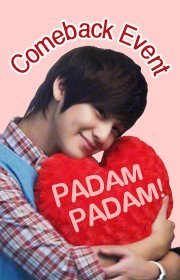 "[Event] My ♥ beats for Kim Beom because _______ !  Padam,  Padam! Does your heart beat for Kim Beom? If you're deeply in love with  him and if he makes your heart beat faster, share your feelings! Tell  us your special heartbeat and win great prizes ^_^ ♥ How to Join 1) 'Like' Kim Beom Official Facebook Page (https://www.facebook.com/k imbeom) 2) Click ""I'm Attending"" Event Button 3) Fill in the Blank: My ♥ beats for Kim Beom because ____________ !  ♥ Event Period: 2011. 11. 14 (Mon) ~ 11.25 (Fri)  ♥ Winner Announcement: 2011. 12. 02 (Fri) ♥ Kim Beom's Gifts 1) Grand Prize: 'Padam Padam' Poster w/ Personalized Autograph (10ea) 2) Lucky Prize: Ring Pang donut mug w/ Autograph (5ea) ♥ To learn more about Padam Padam's filming location, visit https://www.facebook.com/K oreaTalk  빠담, 빠담! 김범을 볼 때마다 가슴이 두근두근 떨리시나요? 김범과 사랑에 빠져 가슴이 두근거린다면 그 마음을 공개해주세요! 여러분의 두근거림을 고백하셔서 행운의 주인공이 되어보세요 ^_^ ♥참여 방법 1) 김범 Facebook '좋아요'를 눌러주세요. (https://www.facebook.com/k imbeom) 2) 이벤트 '참석'을 눌러주세요. 3) 빈칸 채우기: 나를 두근두근하게 하는 것은 김범의 ____________ ! ♥ 이벤트 기간: 2011. 11. 14 (월) ~ 11.25 (금)  ♥ 당첨자 발표: 2011. 12. 02 (금) ♥ 상품 1) 특별상: 드라마 '빠담빠담' 포스터 10장 (당첨자 명+싸인 포함) 2) 행운상: 링팡 도너츠 머그컵 5개(싸인 포함) ♥ 빠담빠담의 촬영지가 궁금하신 분들은 https://www.facebook.com/K oreaTalk 으로~"