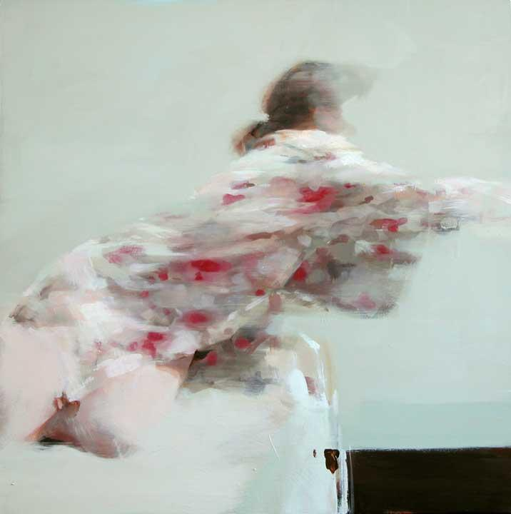 "K.B. with Kimono 24"" x24"" , Oil on wood Alex Kanevsky before"