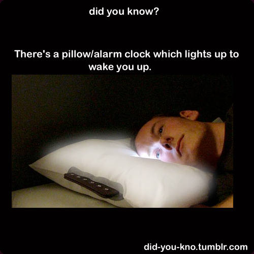 did-you-kno:  A cool pillow and alarm clock concept which combines the two in hopes to provide a comfortable sleeping and waking up regime. As the alarm clock  goes off, the pillow slowly lights up and becomes brighter and  brighter, in order to slowly and effectively wake you up from your  restful sleep. Source