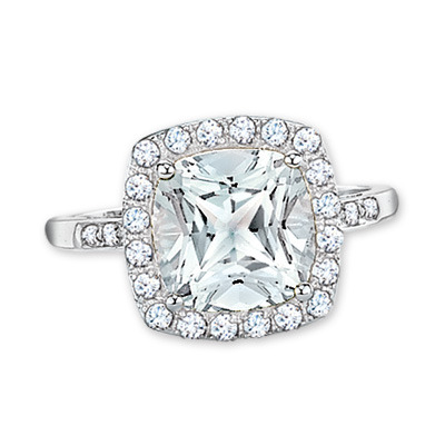 Totally loving this ring for the holidays!   Cushion-Cut White Topaz with White Gold Band