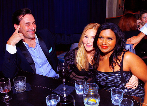 Jon Hamm, Jennifer Westfeldt, and Mindy Kaling attend Glamour's Cindi Leive Toasts Mindy Kaling And Her Book 'Is Everyone Hanging Out Without Me? (And Other Concerns)' on November 14, 2011 in Hollywood, California
