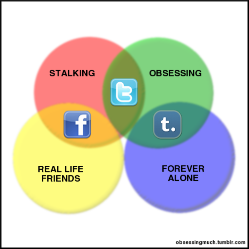 ilovecharts:  A revamp of the popular Social Networking venn diagram. - obsessingmuch  Hmm…we'll see.