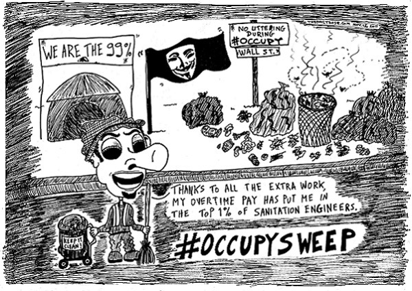#OccupyWallStreet #OccupySweep editorial cartoon and top ten occupy sweep jokes