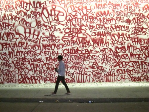 "Barry McGee. New York, 2010  ""With longtime collaborator Josh Lazcano (aka ""AMAZE""), McGee spray painted simple red tags of the names and crews of graffiti writers from both past and present generations."""