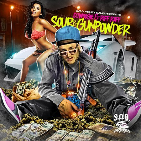 Riff Raff SODMG - Sour & Gunpowder (Riff Raff Records, 2011) Riff Raff's oft-delayed Sour & Gunpowder has finally dropped on iTunes. You can buy it now for $9.99, or wait for alternative means. From the sounds of the samples I've heard, this is easily his most cohesive effort to date. Support and bring the rice out! Note: this is a No DJ album. Riff Raff is just too cheap to get a new DJ Woogie-less cover.