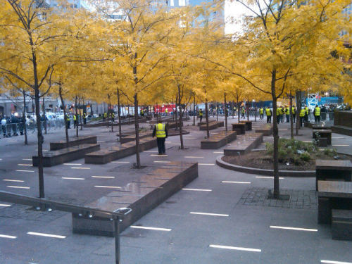 capitalnewyork:  Unoccupied Zuccotti Park. Via Azi  Sure, it's clean, but lots of people would prefer it messy.