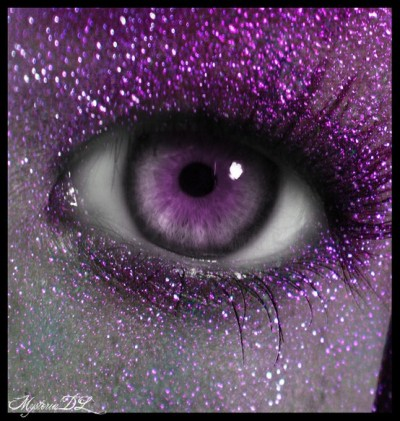 Purple glittery eyes!
