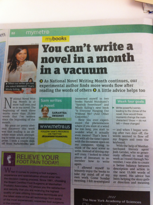 Another Nano article in the Metro. Seriously jealous that the reporter is working with an agent while she's getting her Nano done.
