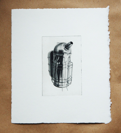 "Mini-bee smoker, Etching, 5""x5"" (approximately - some are tinier!), $50 $30"
